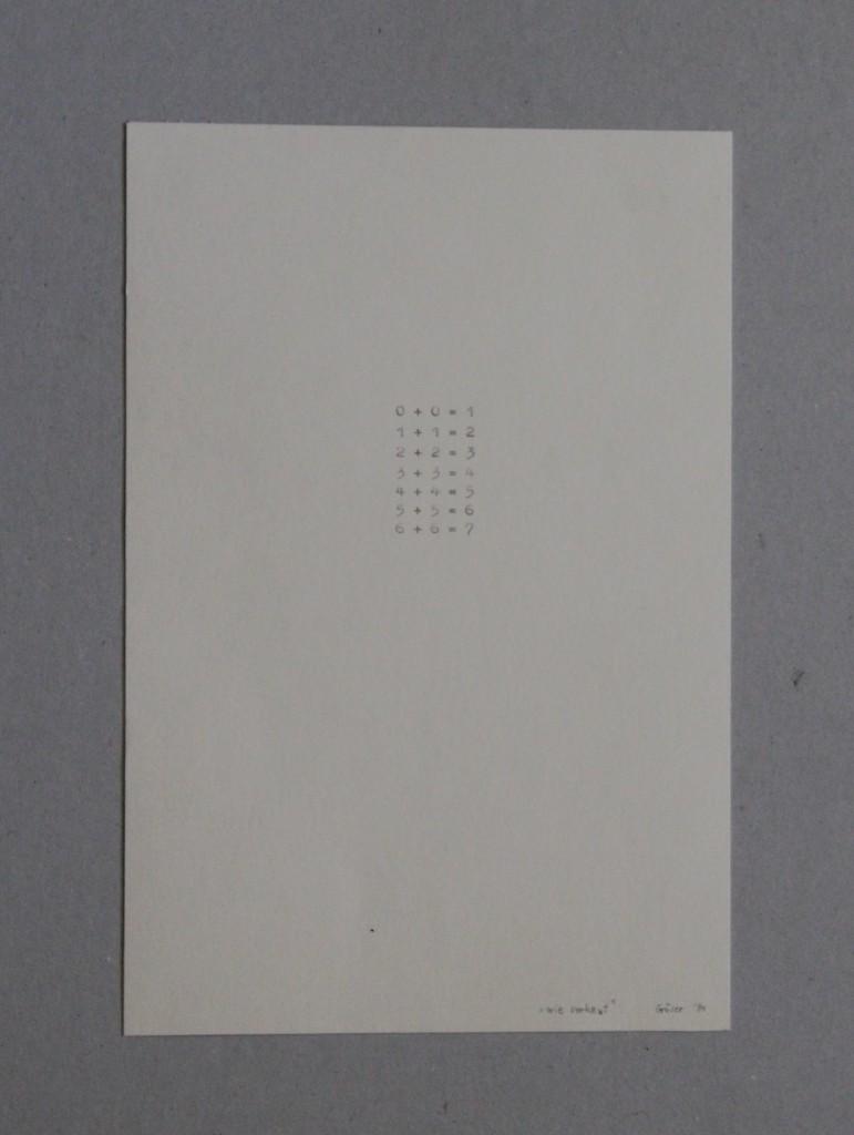 wie verhext (höhere Mathematik), Schreibmaschine auf Papier, 1984, 18 x 26,5