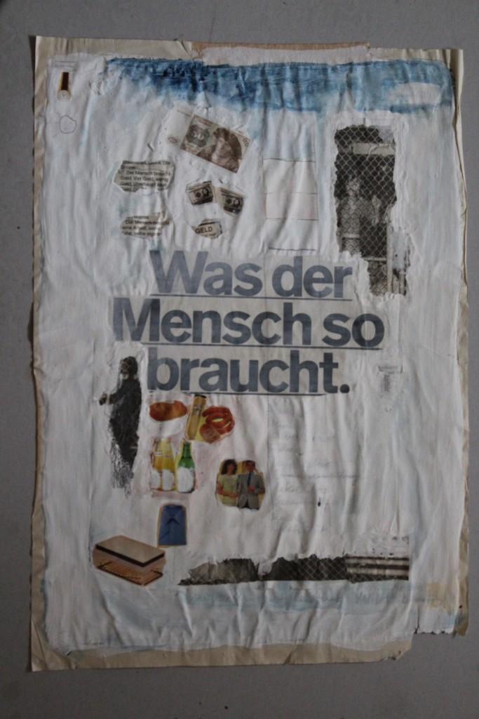 Was der Mensch so braucht, Dispersion/Collage, 80-er Jahre, 40 x 56