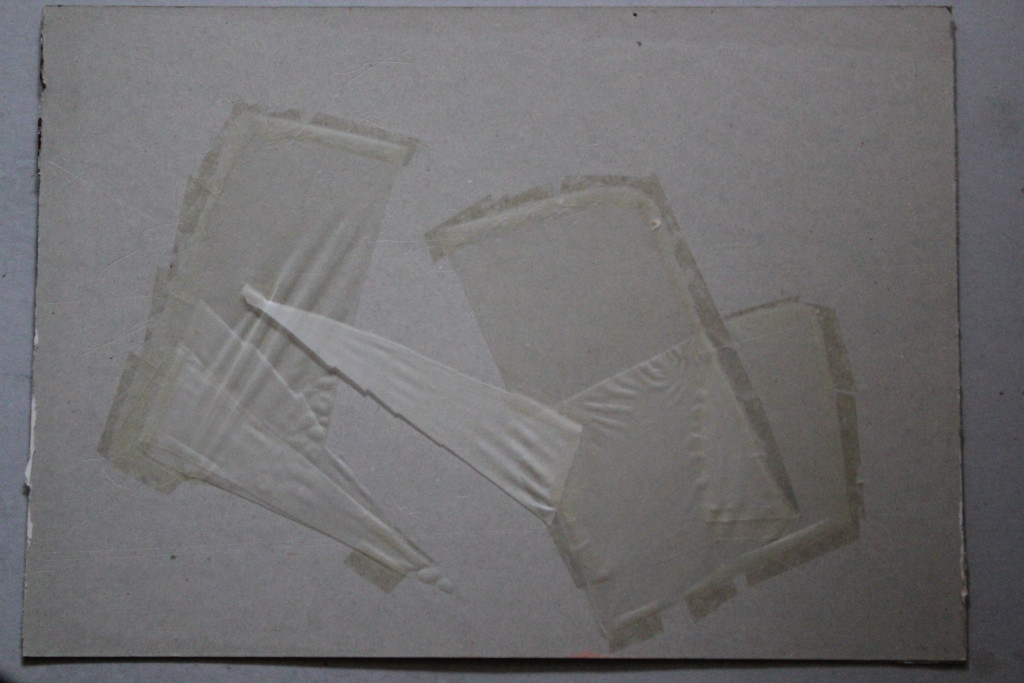 Collage, Transparentpapier/Klebestreifen auf Karton, 1984, 58,5 x 42