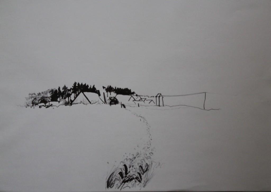 fränkische Landschaft, Rohrfeder/Tusche auf Papier, Anfang 80-er Jahre, 59 x 42