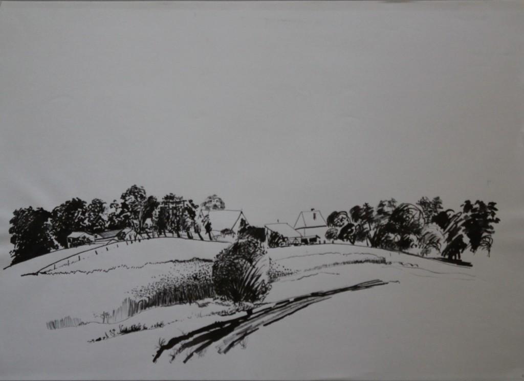 fränkische Landschaft, Rohrfeder/Tusche auf Papier, 1982, 59 x 42