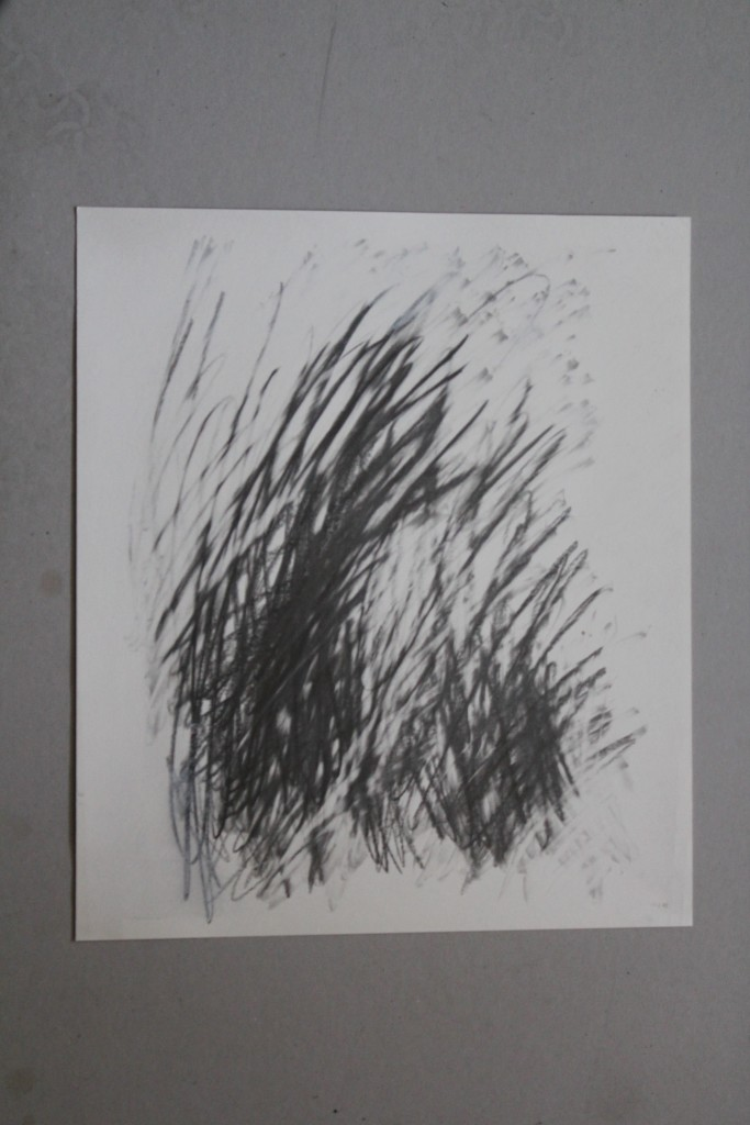 tachistisches Gekritzel, Bleistift auf Papier, 14.2.83, 36 x 42