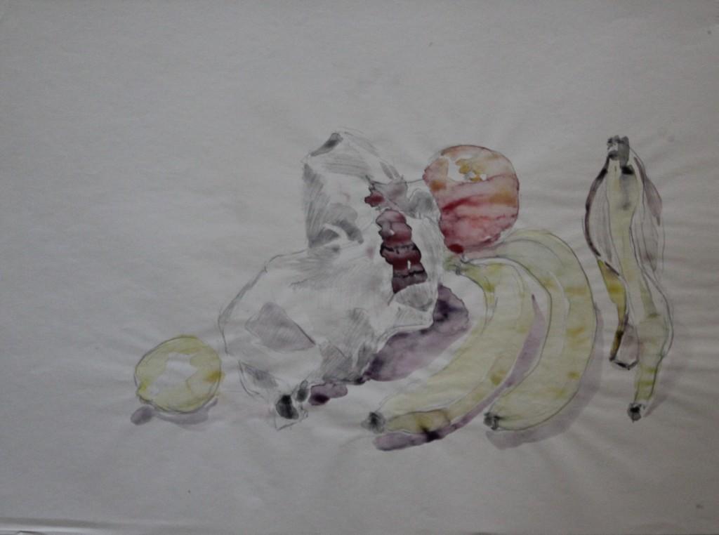 Stillleben mit Früchten, Bleistift/Aquarell auf Papier, 1982, 56 x 42