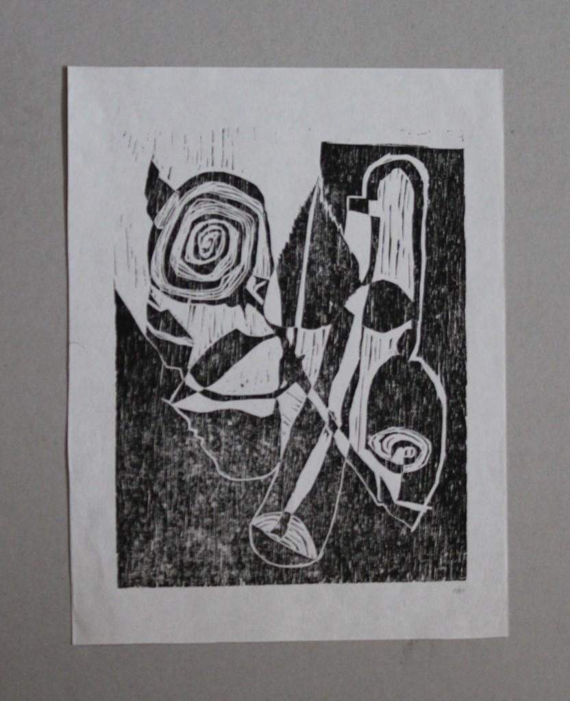 Stillleben mit Blumen, Holzschnitt, 1981, 20 x 26,5