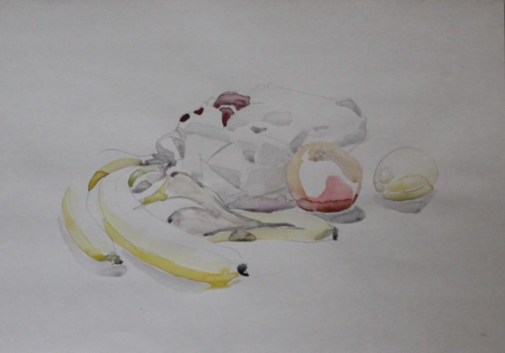 Stillleben mit Früchten, Bleistift/Aquarell auf Papier, 1982, 42 x 30