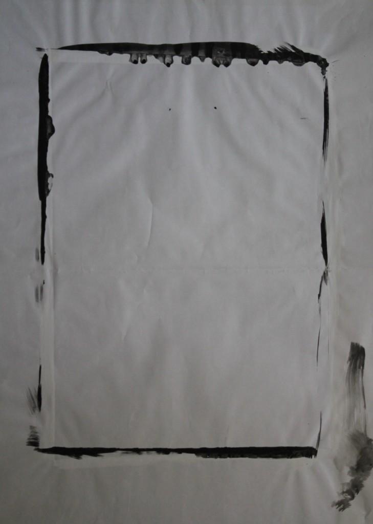 Schwarz-Weiß, Dispersion auf Papier (Abfallprodukt), 1983, 50 x 68,5