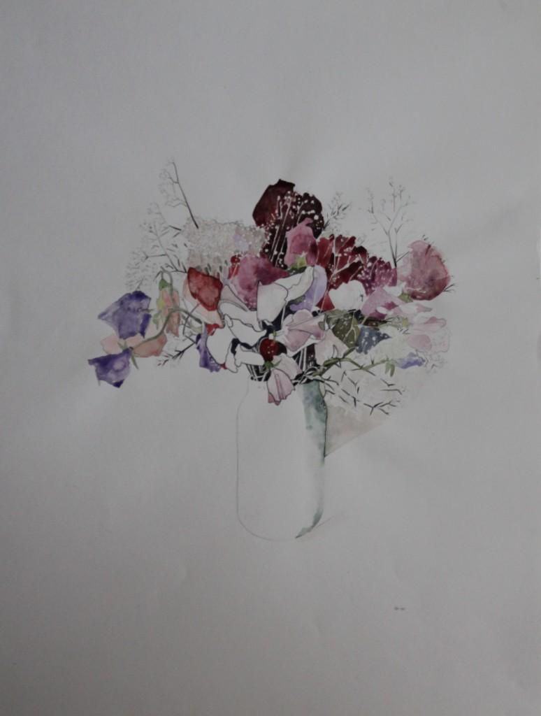 Stillleben Blumen, Bleistift/Tusche/Aquarell auf Papier, 1981, 42 x 56