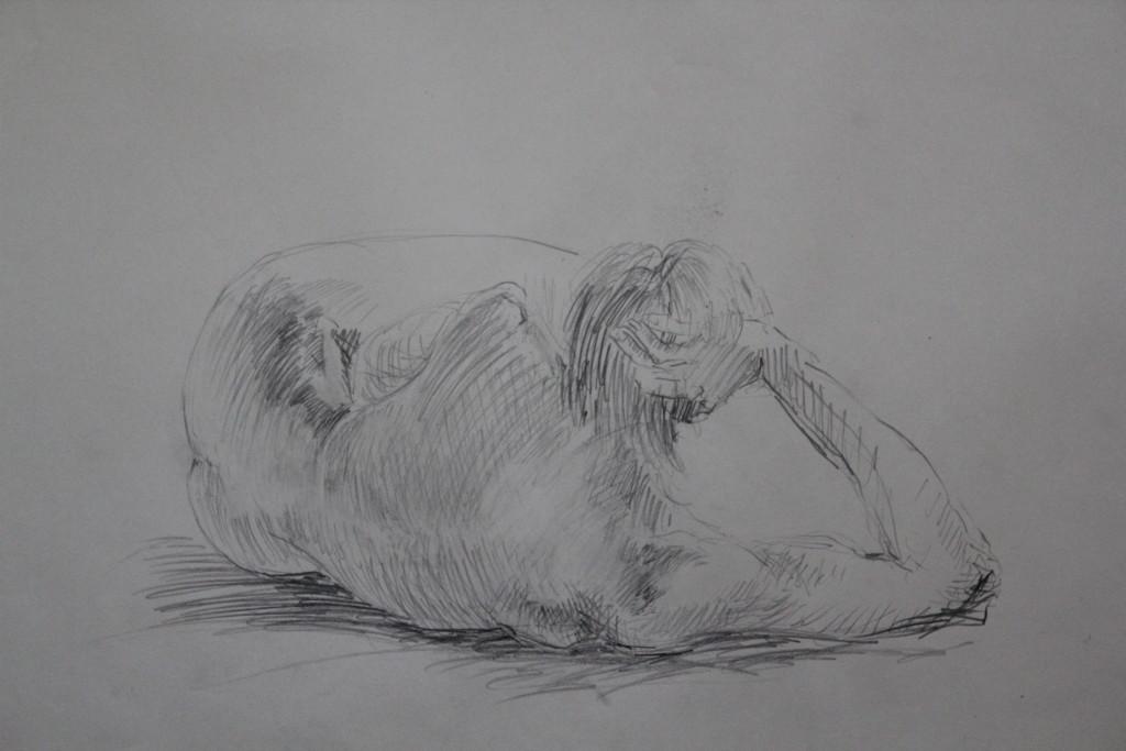 Akt von hinten, Bleistift auf Papier, 80-er Jahre, 68 x 54