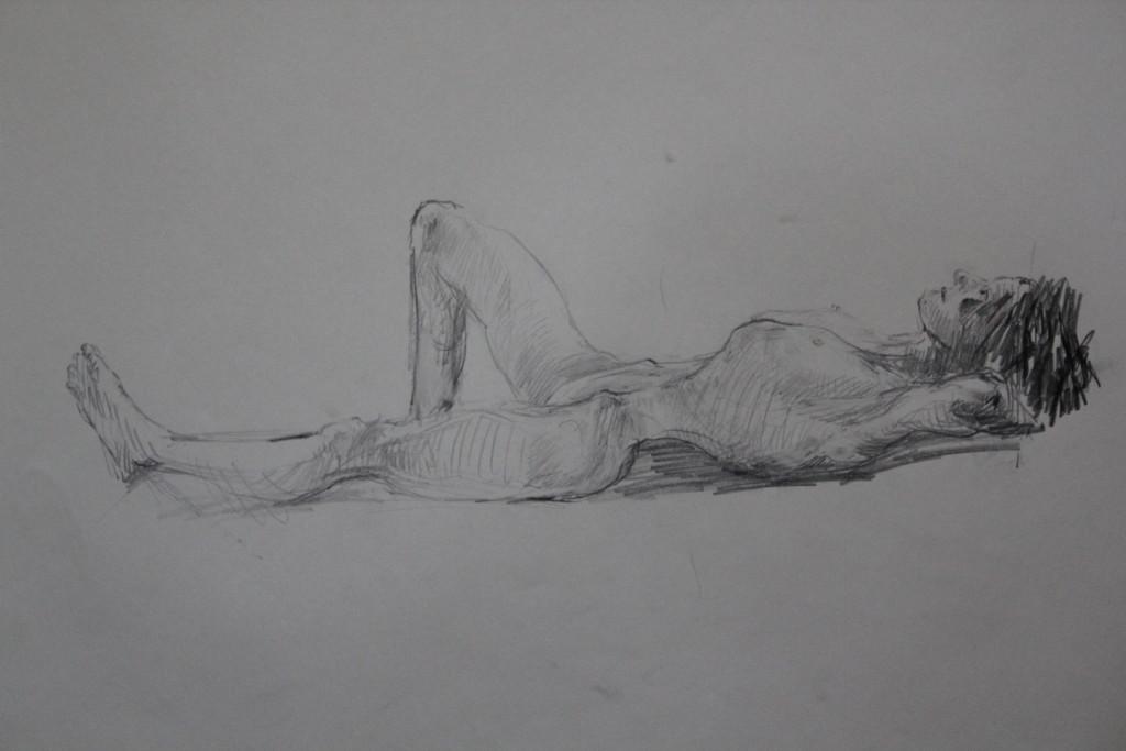 Akt, liegend, Bleistift auf Papier, 80-er Jahre, 68 x 54
