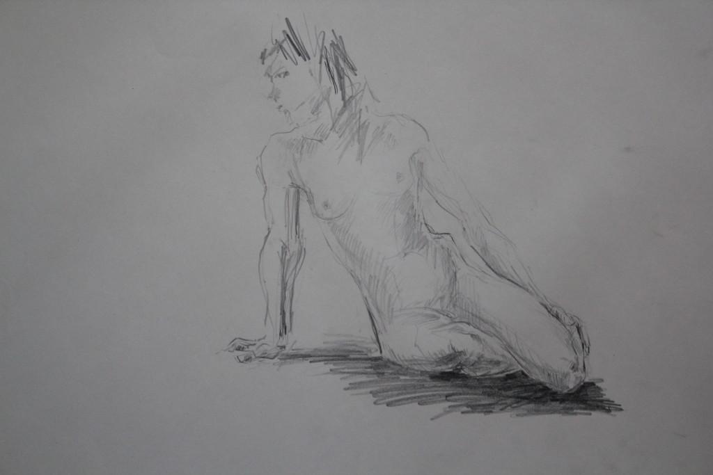 Akt, Bleistift auf Papier, 80-er Jahre, 68 x 54