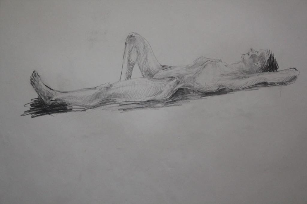 Akt liegend, Bleistift auf Papier, 80-er Jahre, 68 x 54