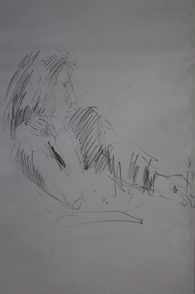 Figur, Skizze als Zeichnung, Bleistift auf Papier, 1983, 42 x 59