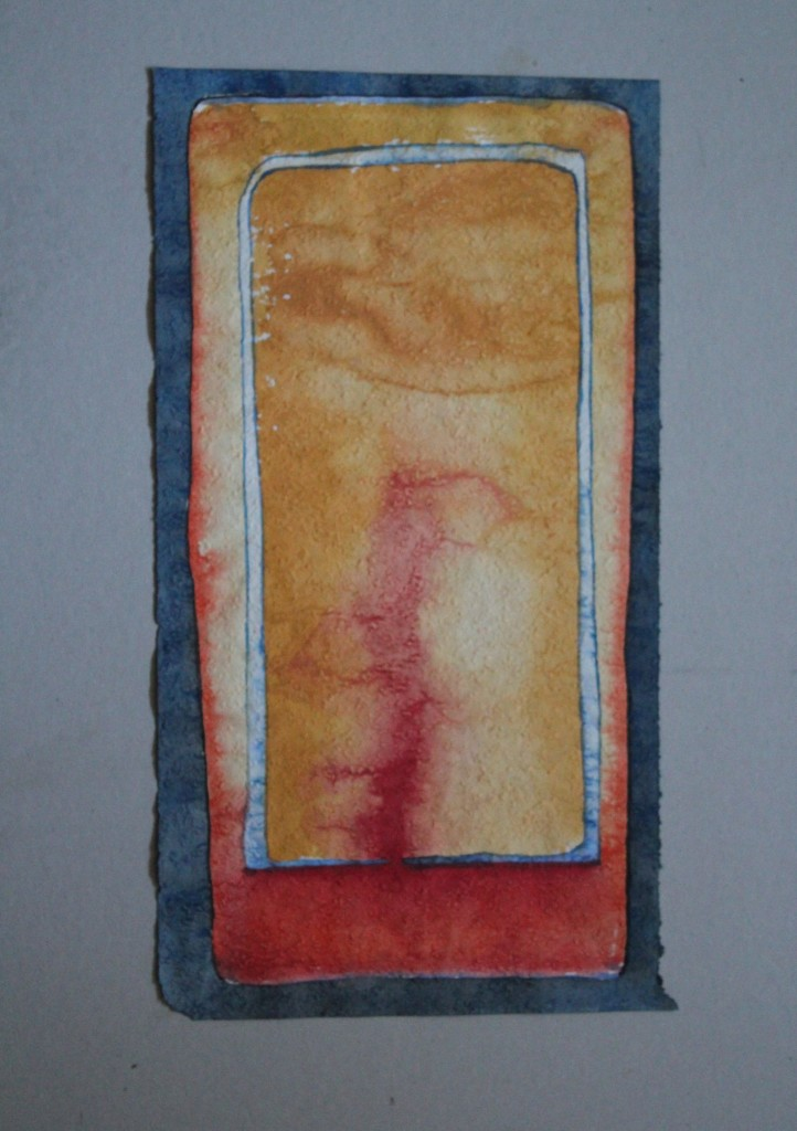 Feld, Infusion, Tempera auf Rauhfasertapete, 1982, 29 x 53