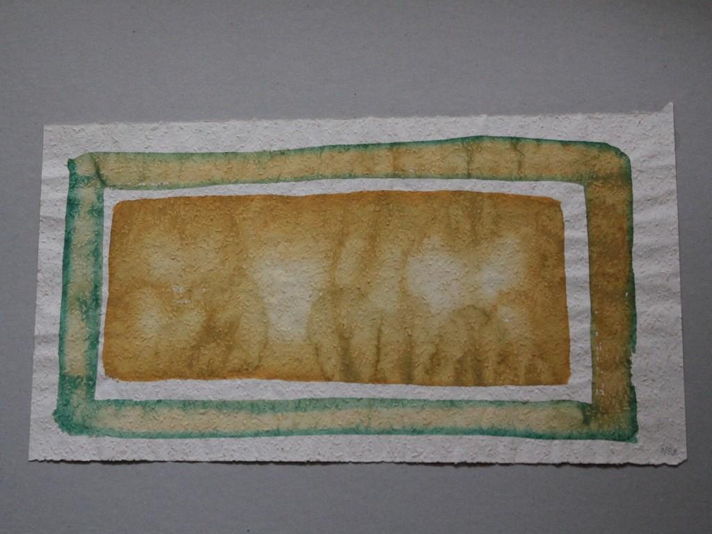 Feld mit grünem Rahmen, Tempera auf Rauhfasertapete, 1982, 53 x 29,5