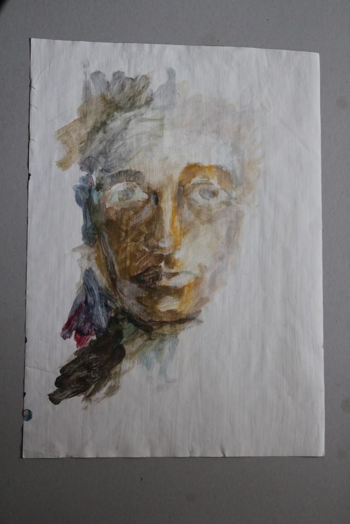 Gesicht, Pigmente/Schellack auf Papier, Ende 70-er Jahre, 38,5 x 59