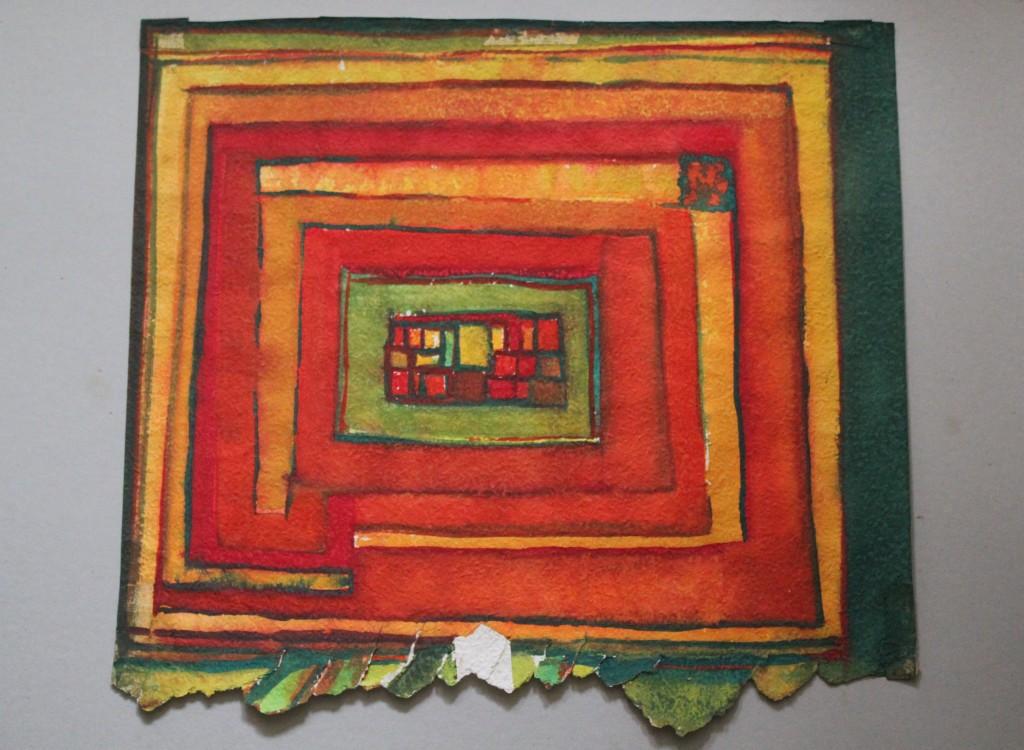 gefangen im Garten, Tempera auf Rauhfasertapete, 1982, 55 x 50