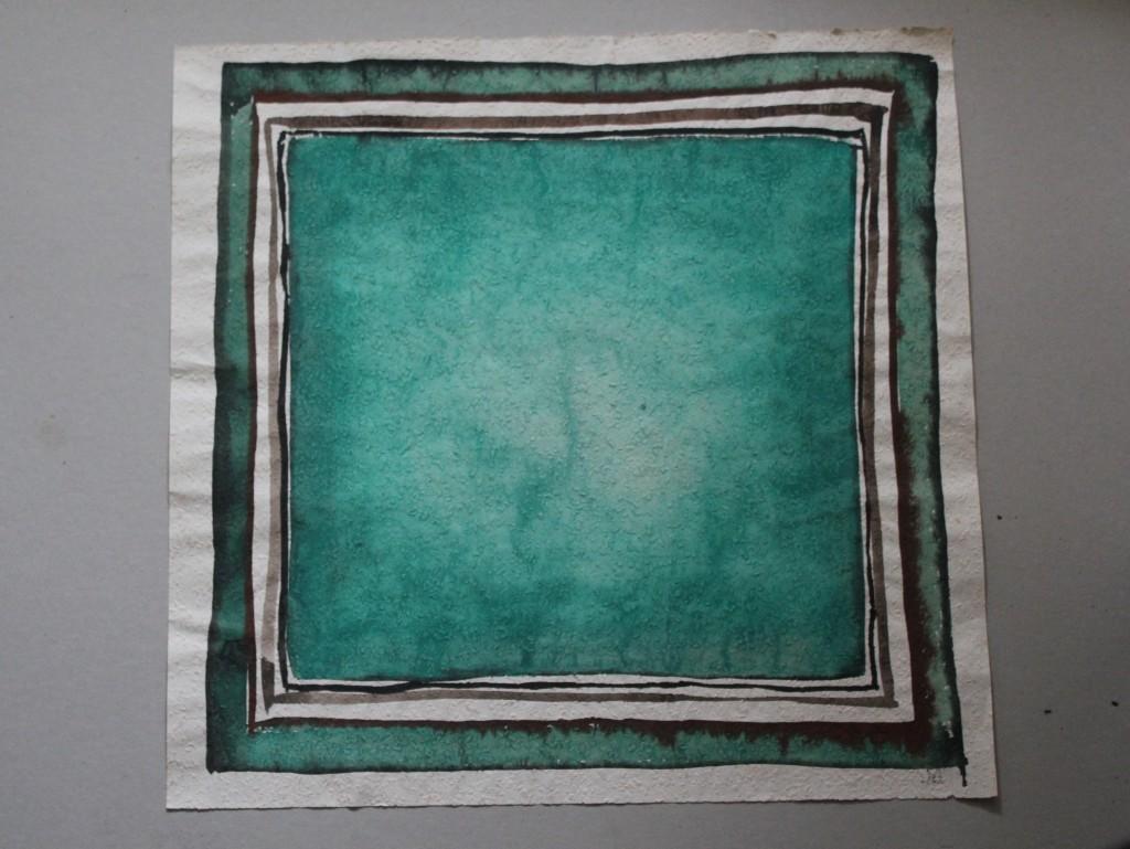 grünes Problemfeld, Tempera auf Rauhfasertapete, 1982, 53 x 51,5