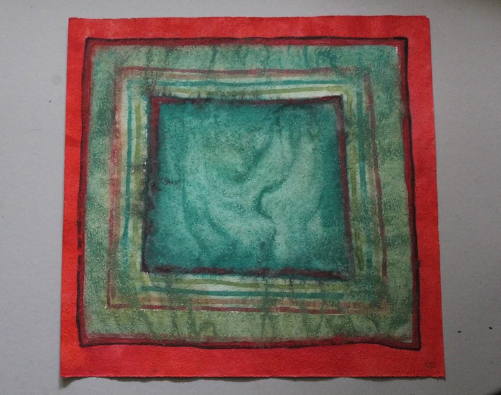Quadratzone, Tempera auf Rauhfasertapete, 1982, 53 x 52,5