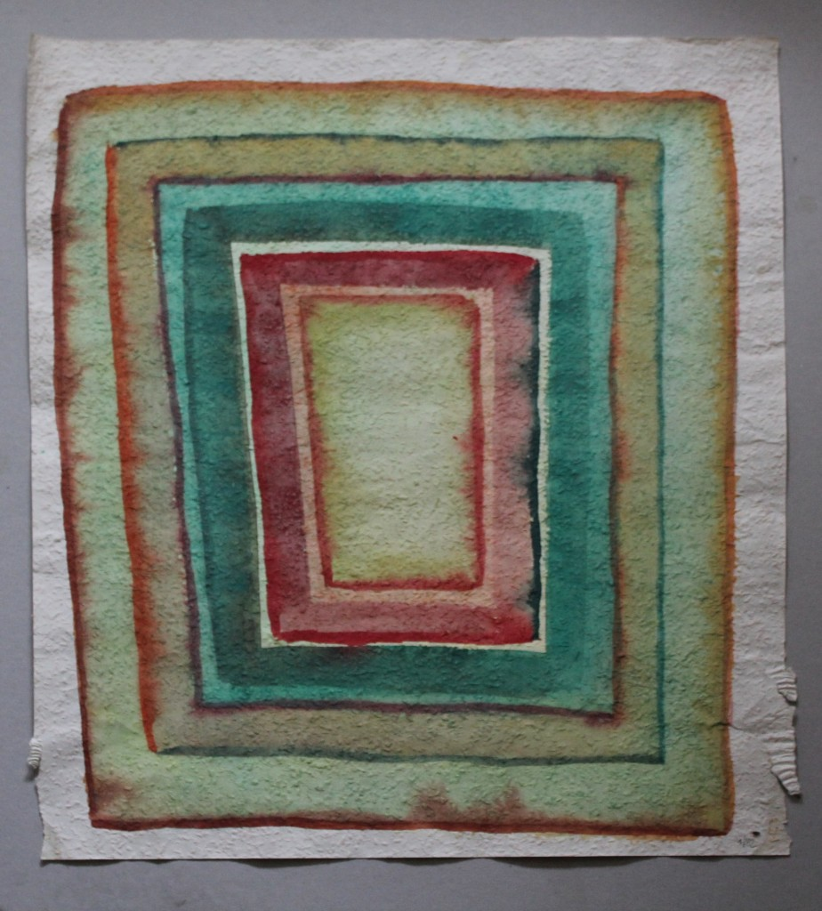 schiefes Feld, Tempera auf Rauhfasertapete, 1982, 52,5 x 53