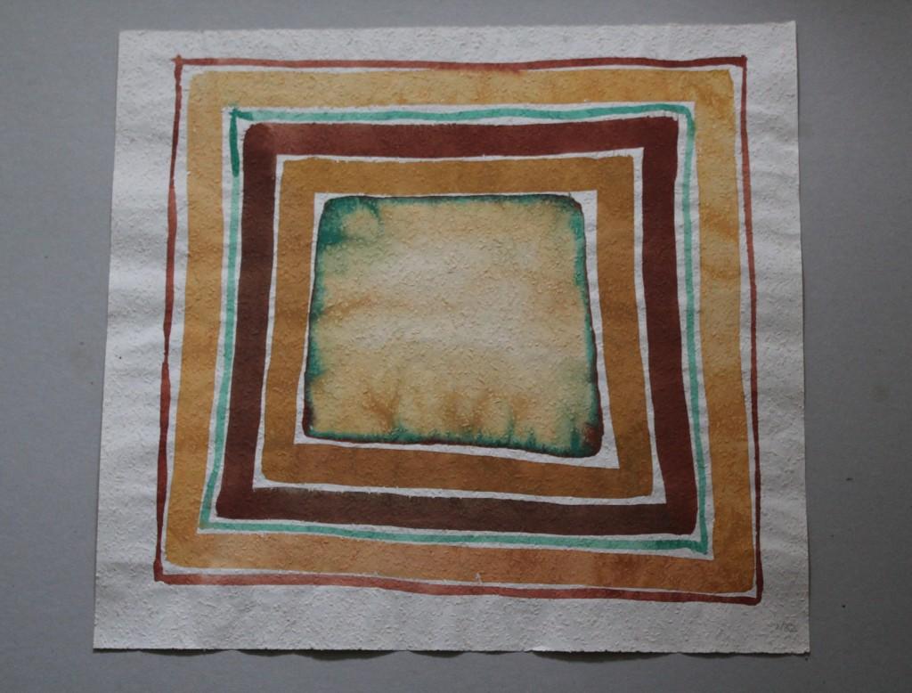 schiefes Feld mit Rahmen, Tempera auf Rauhfasertapete, 1982, 53 x 49