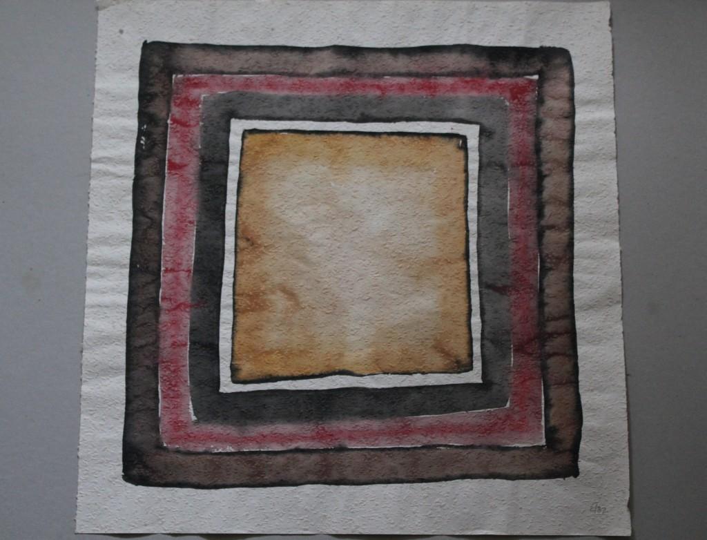 schiefes Quadrat mit Rahmen (Trauerarbeit), Tempera auf Rauhfasertapete, 1982, 52 x 53