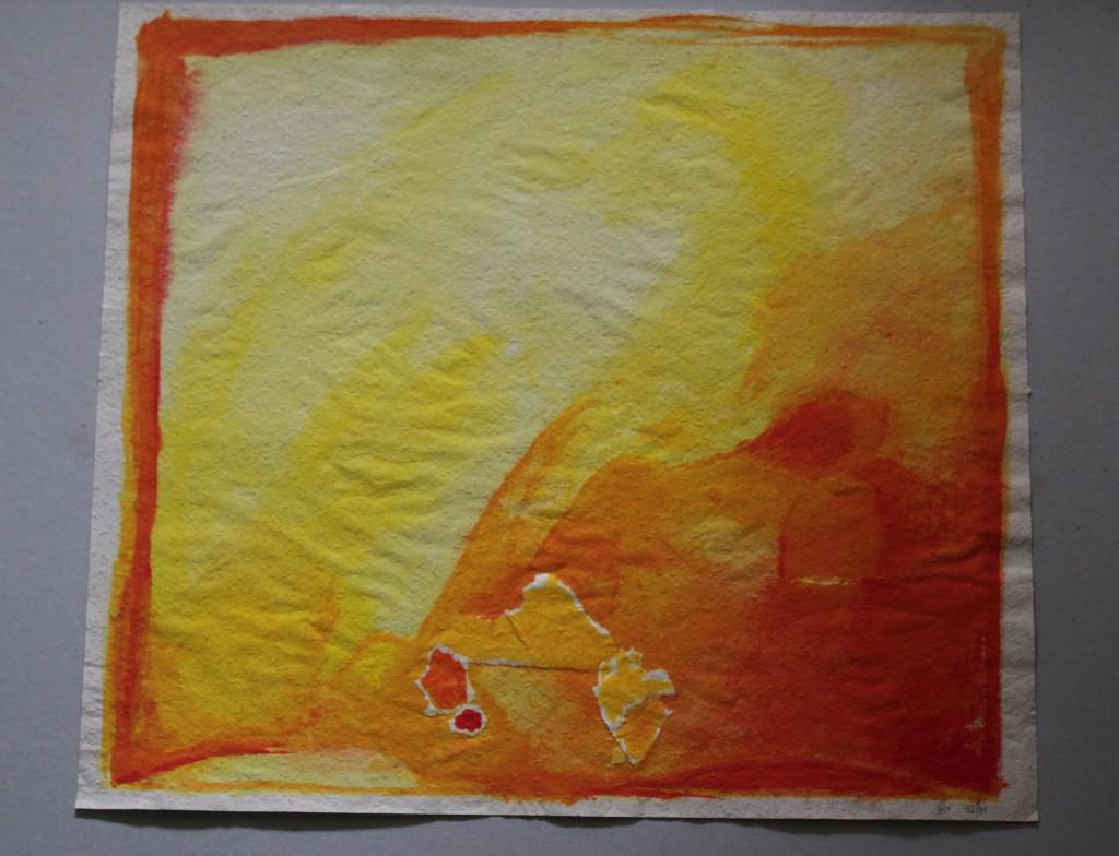 brennt (schönes Warm), Tempera auf Rauhfasertapete, 1982, 59,5 x 53