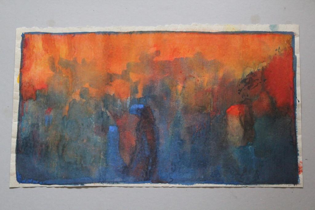 Feuer am Horizont, Tempera auf Rauhfasertapete, 1982, 56,5 x 31,5
