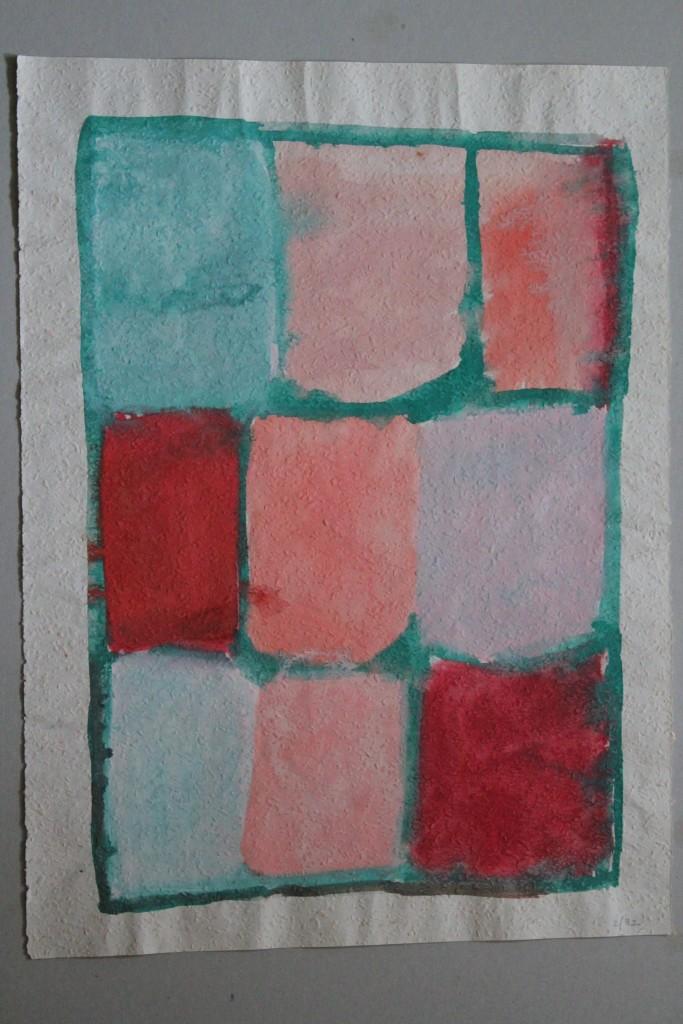 9 Felder, Tempera auf Rauhfasertapete, 1982, 39,5 x 53