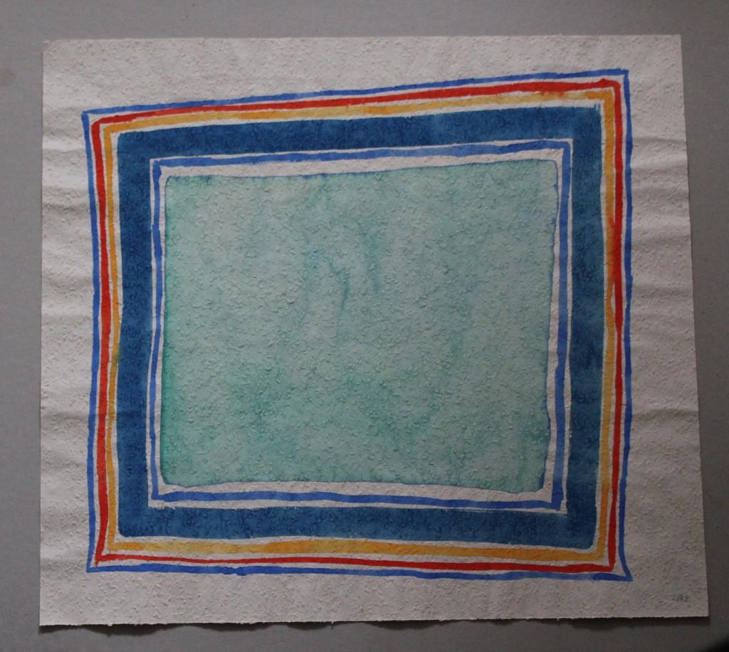 zartes Feld mit starken Rahmen, Tempera auf Rauhfasertapete, 1982, 53 x 48