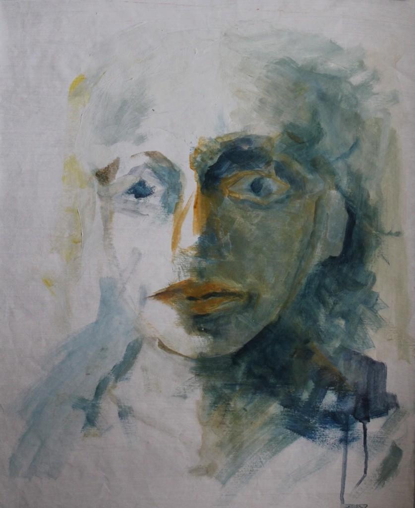 Portrait in Blau, Pigment/Schellack auf Papier, 80-er Jahre, 54 x 67