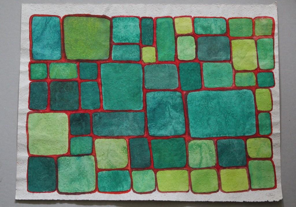 lauter Felder, Tempera auf Rauhfasertapete, 1982, 53 x 40,5