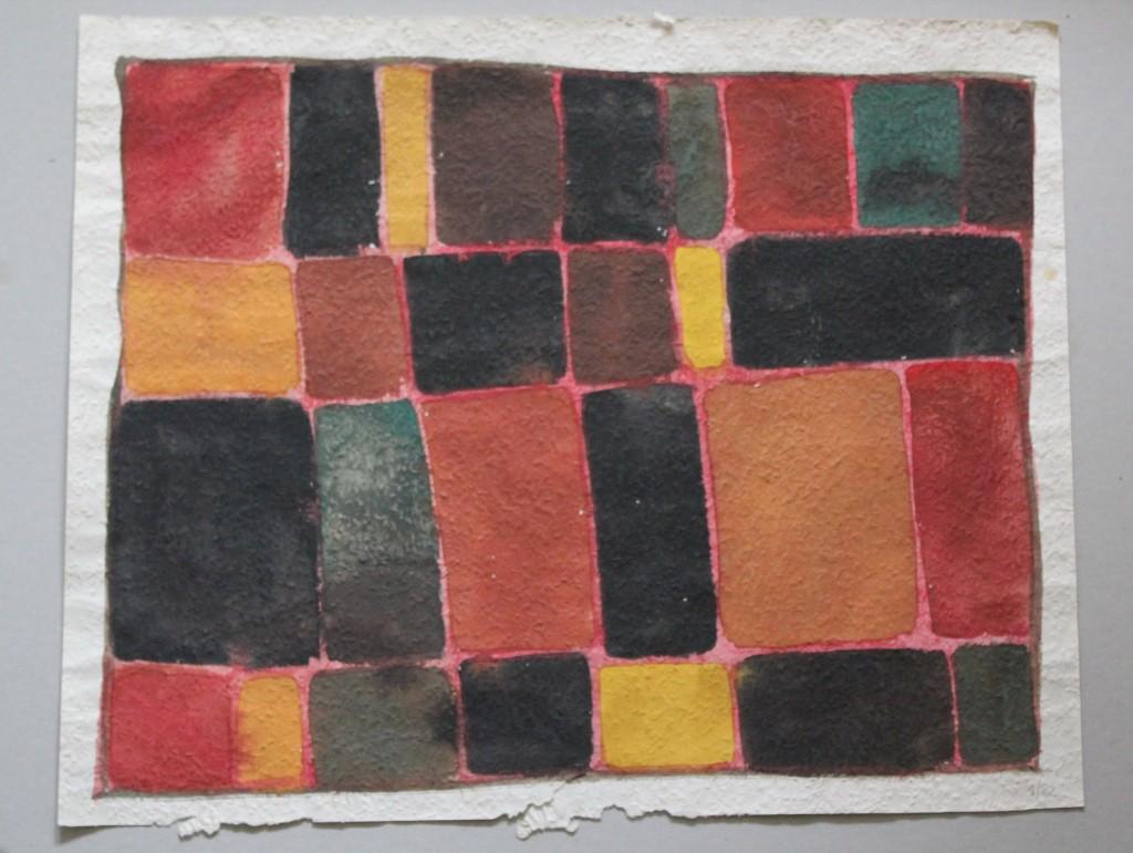 melancholische Felder, Tempera auf Rauhfasertapete, 1982, 56,5 x 46