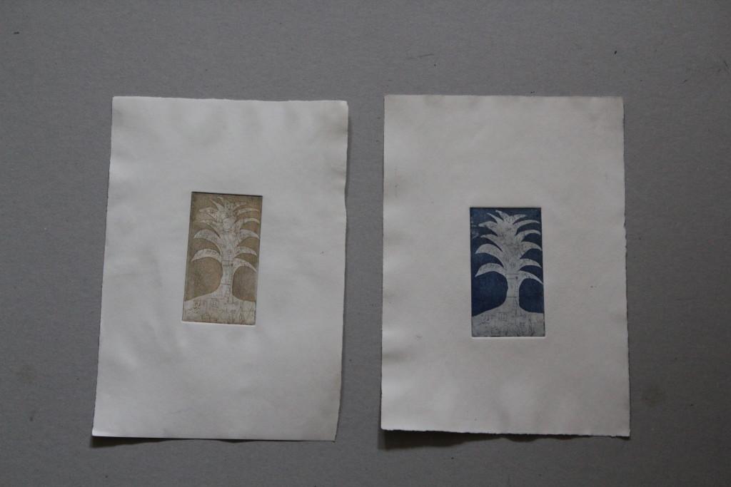 Baum, Radierung, 80-er Jahre, 5,5 x 10