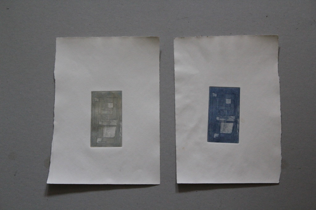 Quadrate, Radierung, 80-er Jahre, 5,5 x 10