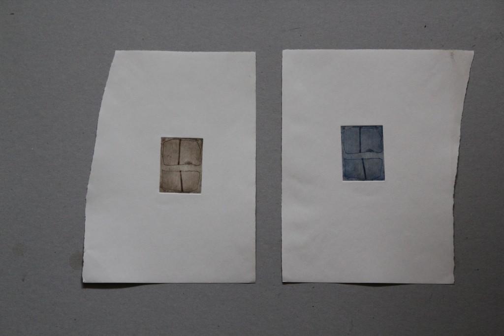 zwei Teile, Radierung, 80-er Jahre, 5 x 5,5
