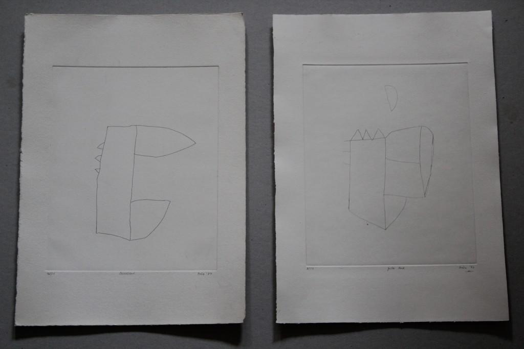 2 Radierungen, 1987, 20 x 25