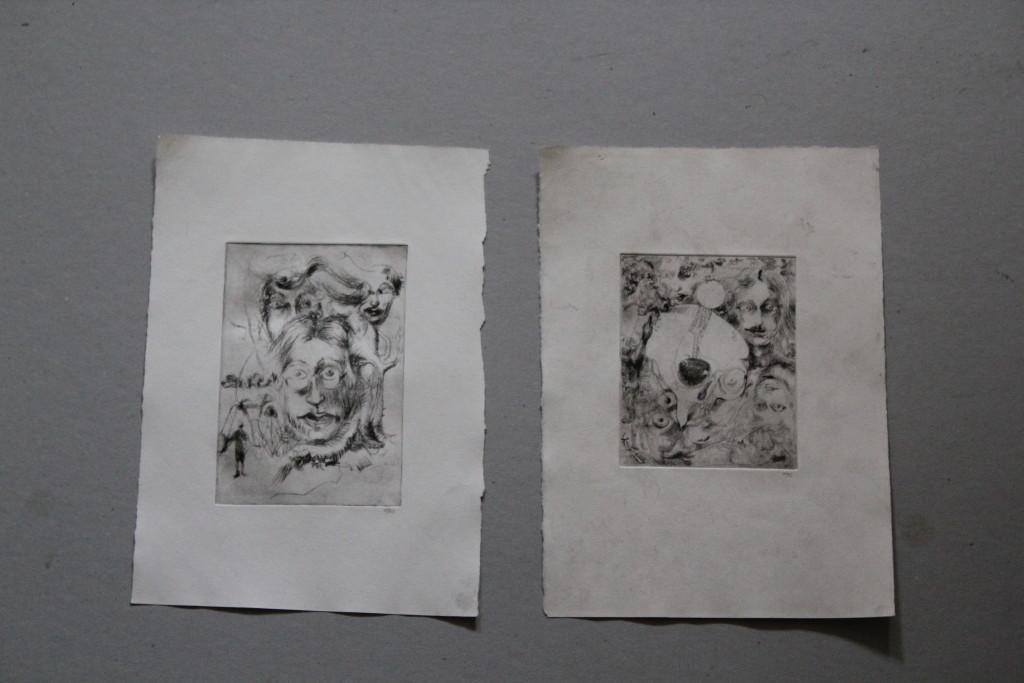 2 Radierungen, surreal, 1982, 9,5 x 12/10 x 14,5