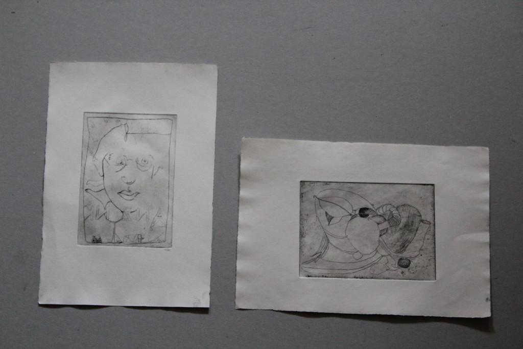 2 Radierungen, 1982, 14,5 x 10/10 x 14,5