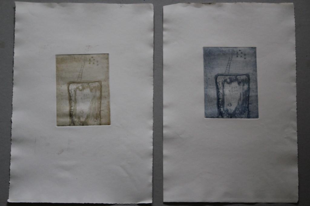 Licht, Raum, Zeit, Radieung, 80-er Jahre, 10 x 14,5