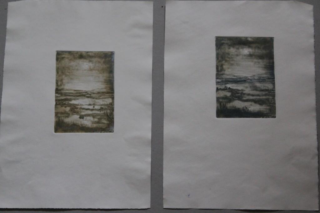 Landschaft, Radierung, 80-er Jahre, 10 x 14,5