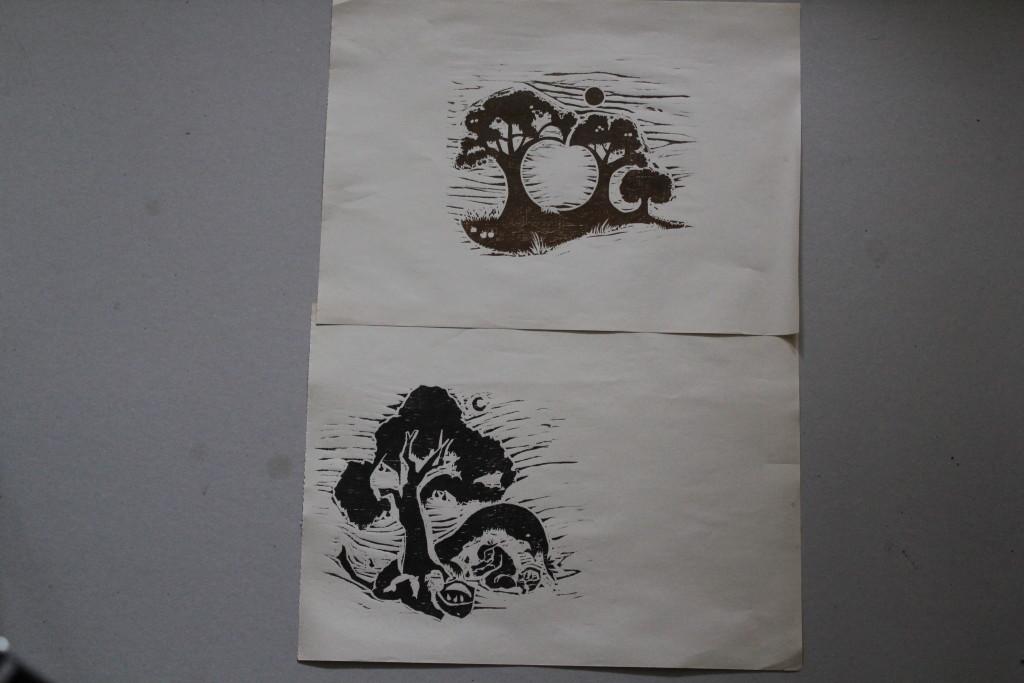 2 Holzschnitte, 80-er Jahre, 22 x 17,5