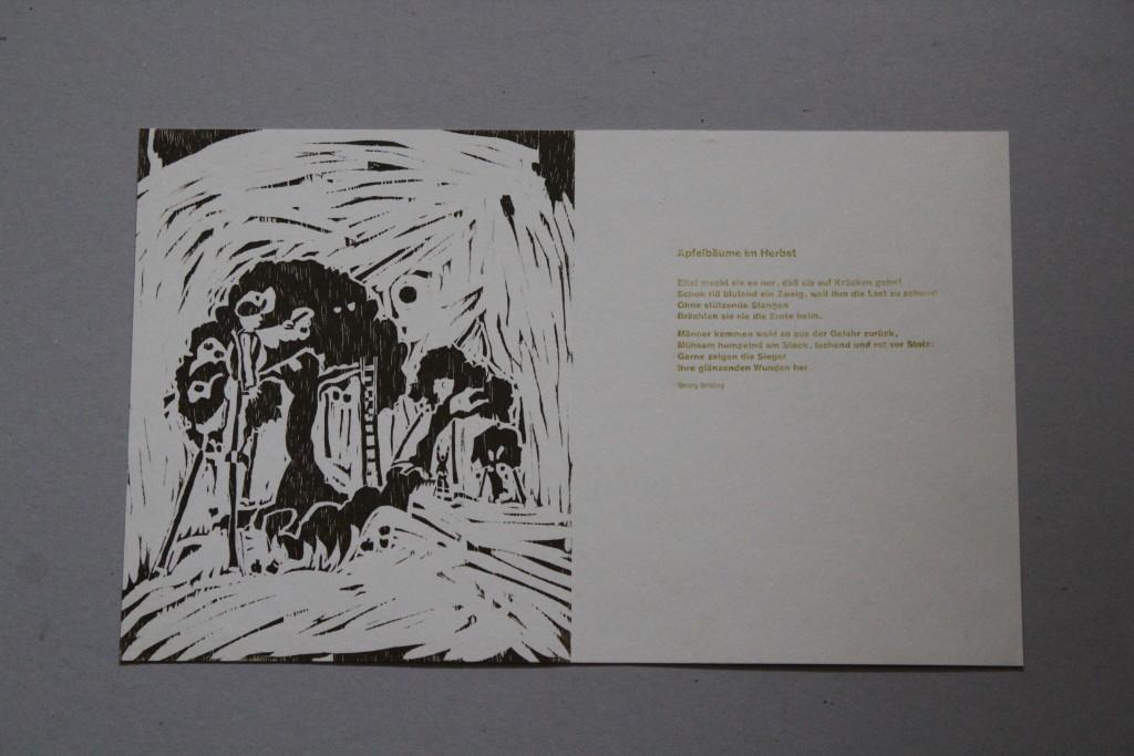 Buchseite, Holzschnitt/Satz, 80-er Jahre