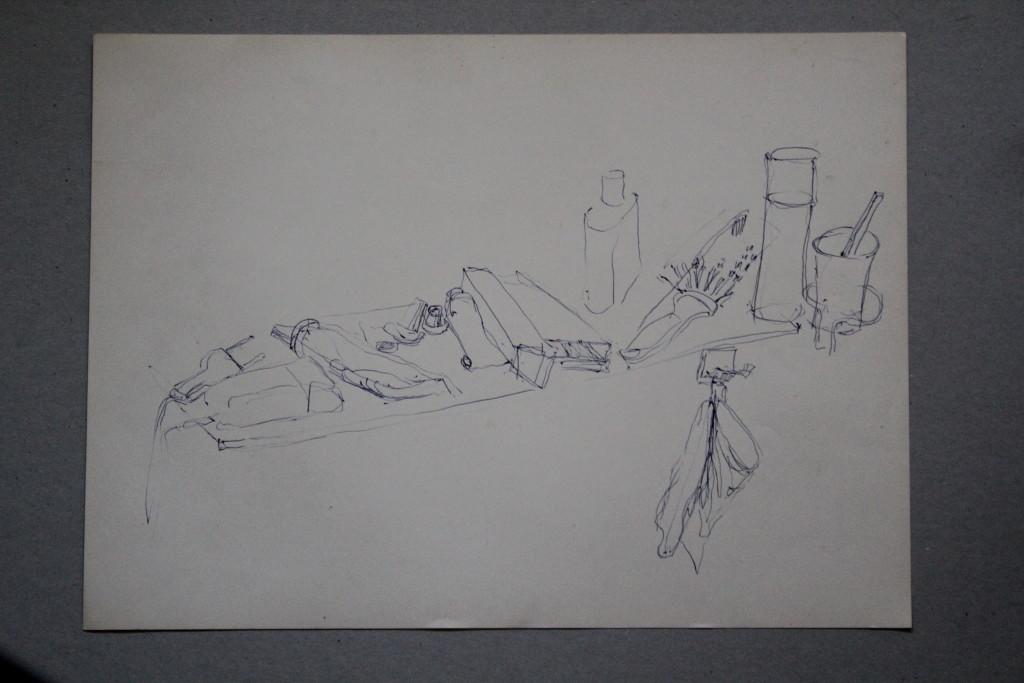 Stillleben, Kugelschreiber auf Papier, 80-er Jahre, 45 x 37,5