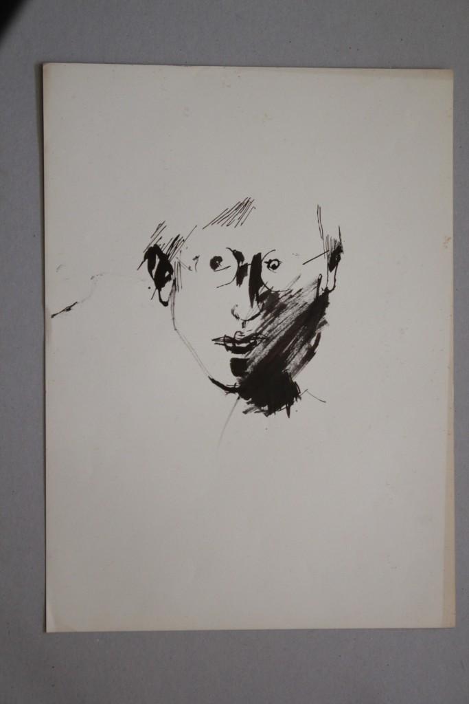 Selbst, Rohrfeder/Tusche auf Papier, 80-er Jahre, 33 x 45