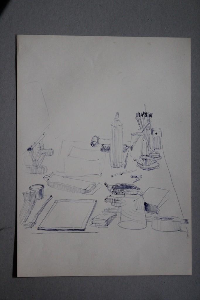 Stillleben, Kugelschreiber auf Papier, 80-er Jahre, 33 x 45