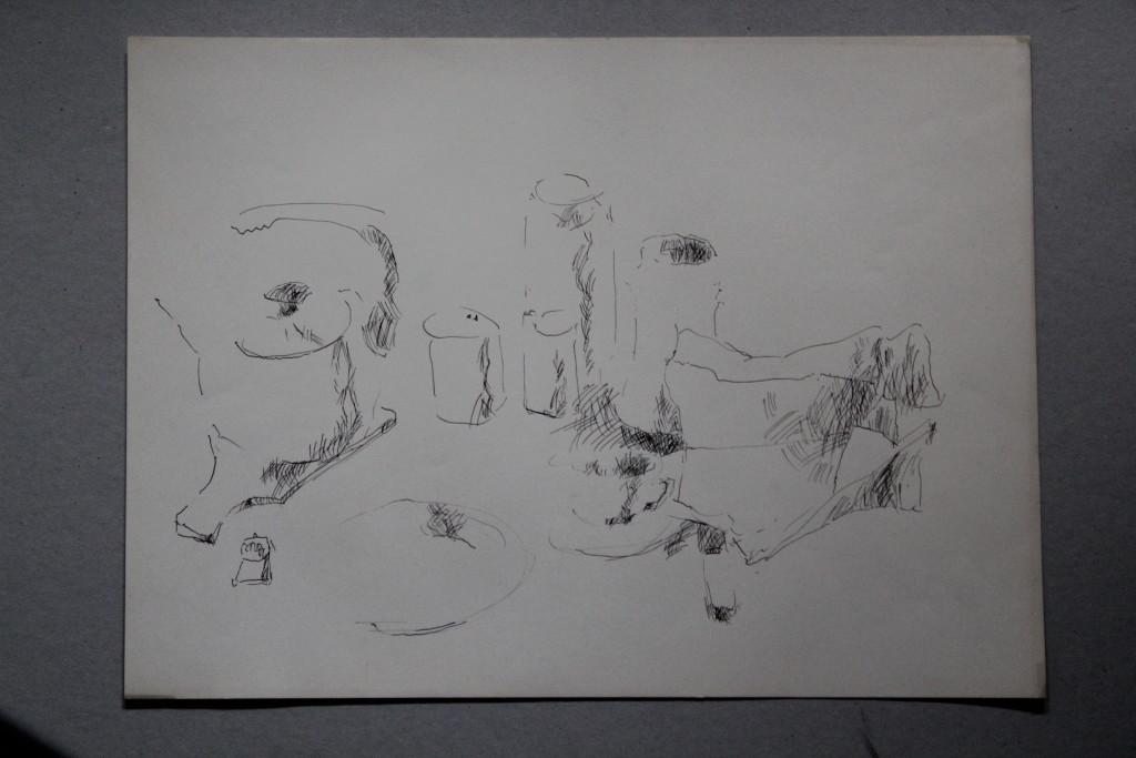 Stillleben, Feder/Tusche auf Papier, 80-er Jahre, 45 x 33