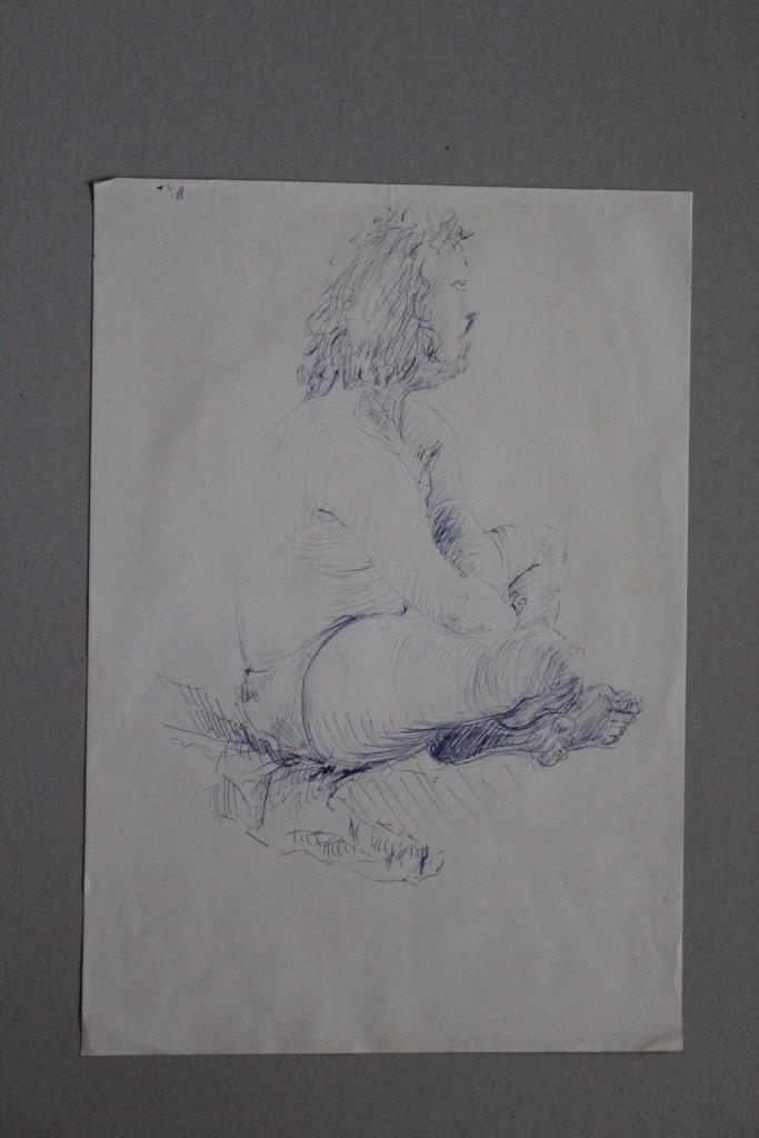männlicher Akt, Kugelschreiber auf Papier, 80-er Jahre, 29 x 42