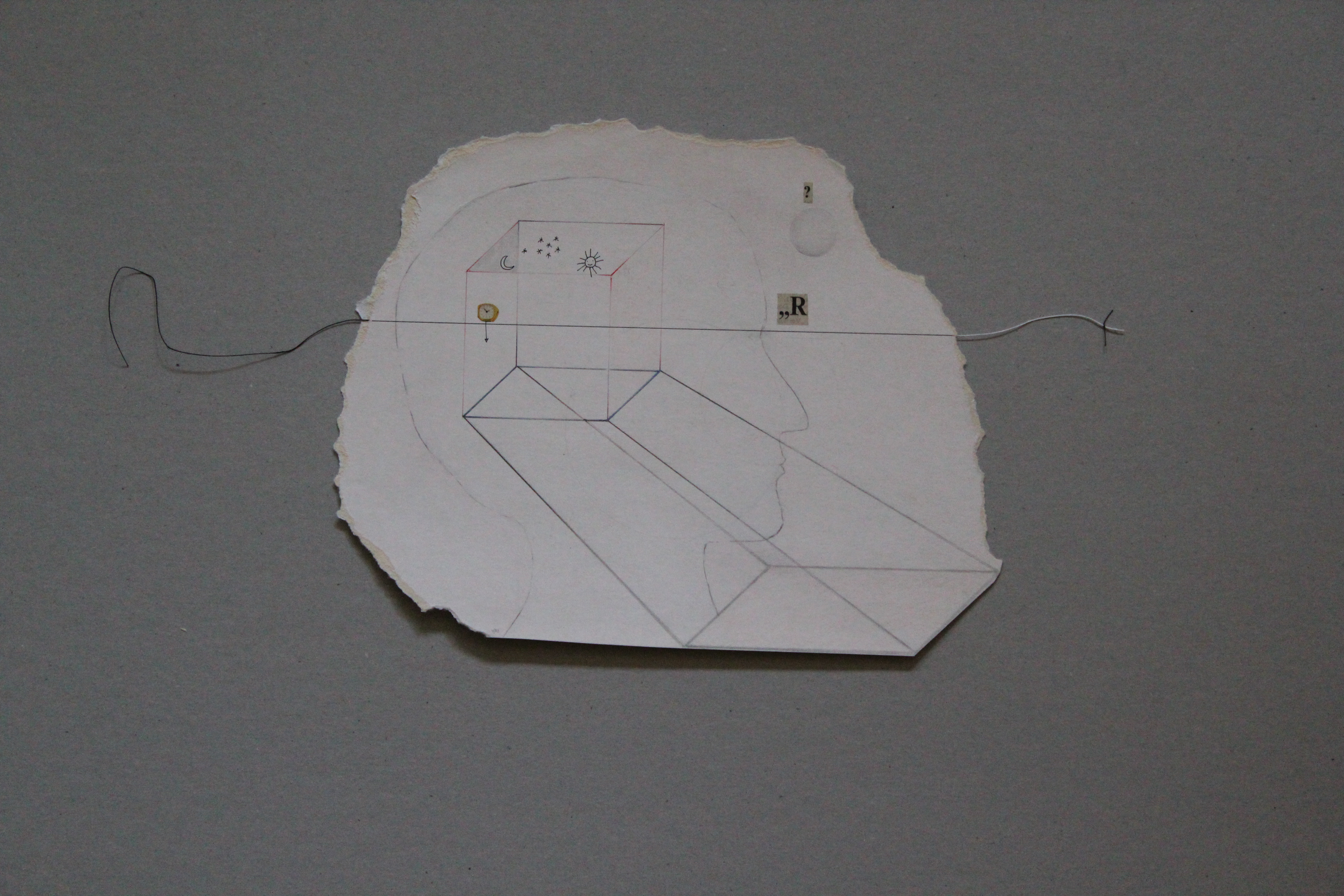 Konstruktion der Realität (Rätsel Kosmos), Zeichnung auf Papier, Faden, 1983, ca. 27 x 22