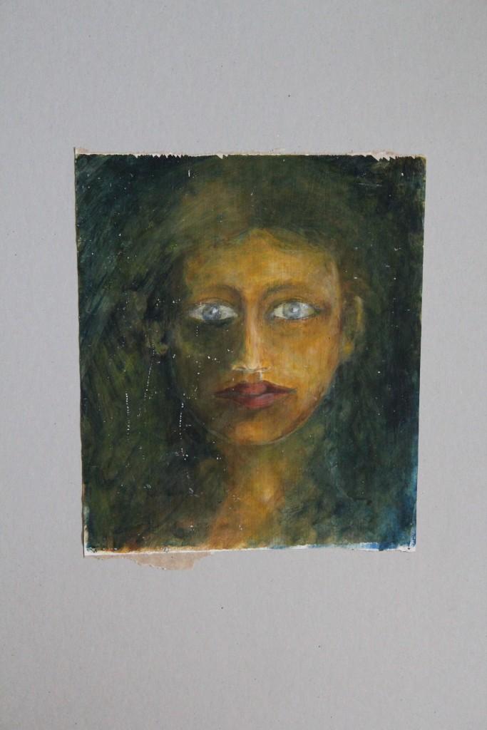 Portrait, Schellack/Pigmente auf Papier, 80-er Jahre, 26,5 x 30