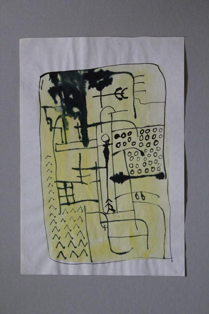 Garten, Tusche/Tempera auf Papier, 1982, 28,8 x 41,5